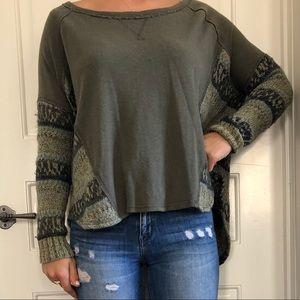 Free People sweater/sweatshirt - green, size XS